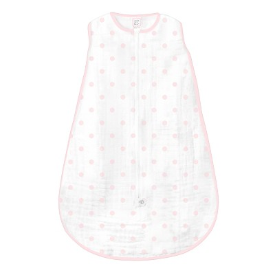 SwaddleDesigns® Muslin zzZipMe Sack® - Pink Dots - 6-12 M