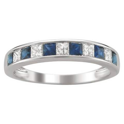 1/4 CT. T.W. Princess-Cut Channel Set Diamond and Sapphire Band Ring in 14K White Gold (HI-I1-I2)