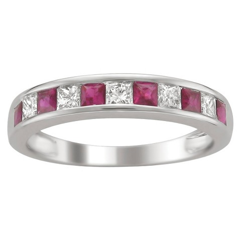 1/4 CT.T.W. Princess-cut Channel Set Diamond and Ruby Band Ring in 14K White Gold (HI, I1-I2)
