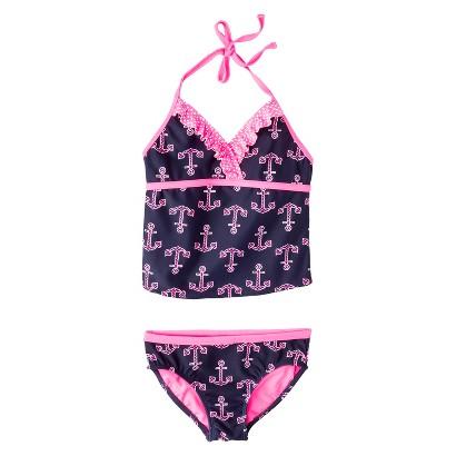 Girls' 2-Piece Anchor Halter Tankini Swimsuit Set