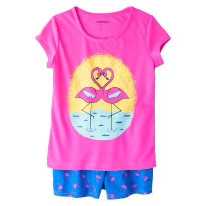 Xhilaration® Girls' 2-Piece Short-Sleeve Sun Flamingo Pajama Set