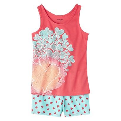 Xhilaration® Girls' 2-Piece Hearts Tank Top and Short Pajama Set