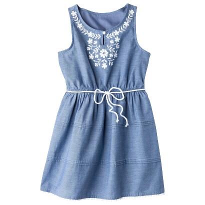 Girls' Sleeveless Embellished Front Shirt Dress