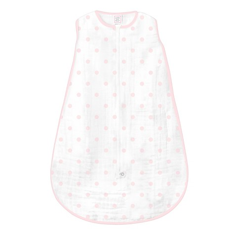 SwaddleDesigns Muslin zzZipMe Sack - Pastel Pink Dots