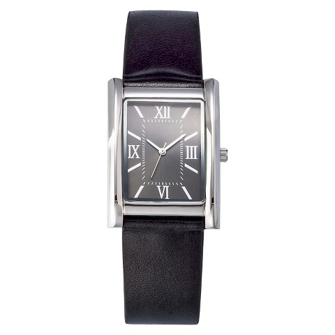 Men's Analog Watch with Faux Leather Straps - Black