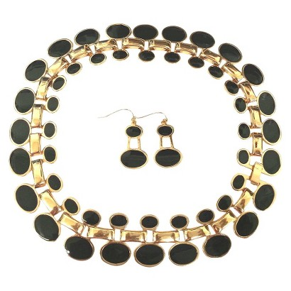 "Enamel and Polished Oval ""Cleopatra"" Statement Necklace and Earrings Set - Black"