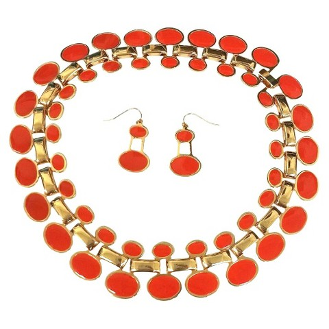 """Enamel and Polished Oval """"Cleopatra"""" Statement Necklace and Earrings Set - Pink Coral"""