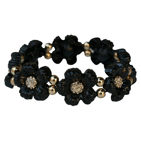 Daisy Flowers and Crystals Enamel and Gold Electroplated Stretch Bracelet - Black