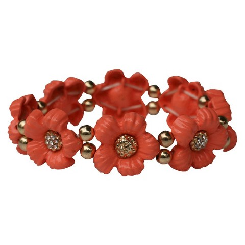 Daisy Flowers and Crystals Enamel and Gold Electroplated Stretch Bracelet - Pink Coral