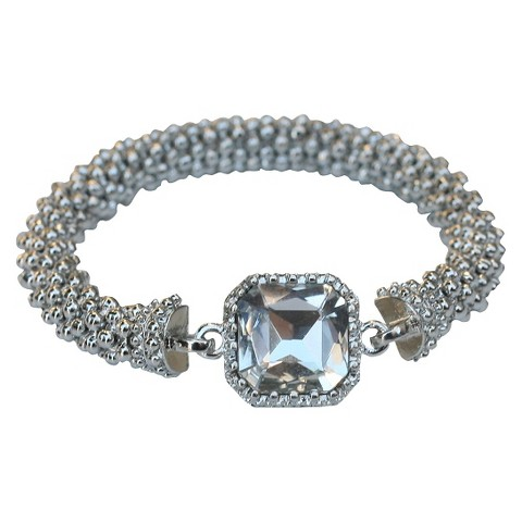 Satin Textured Rondelles with Square Crystal Stretch Bracelet - Rhodium