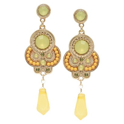 Colored Stones and Beaded Artisan Dangling Earrings - Yellow