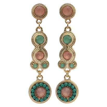 3mm and 10mm Colored Stones with Beaded Artisan Drop Earrings - Multicolor