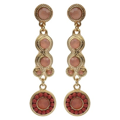 3mm and 10mm Colored Stones with Beaded Artisan Drop Earrings - Pink