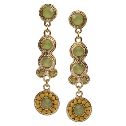 3mm and 10mm Colored Stones with Beaded Artisan Drop Earrings - Yellow