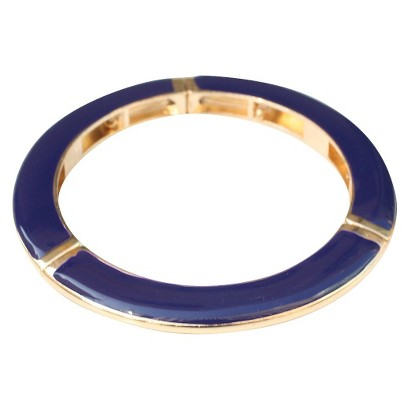 Slender Enamel and Gold Electroplated Stretch Bracelet - Navy