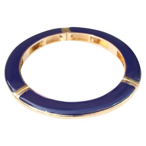 Slender Enamel and Gold Electroplated Stretch Bracelet - Navy