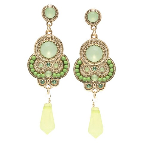 Colored Stones and Beaded Artisan Dangling Earrings - Green