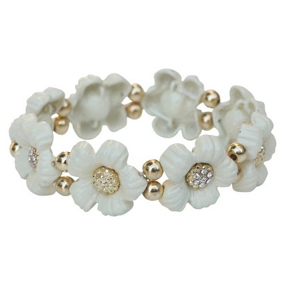 Daisy Flowers and Crystals Enamel and Gold Electroplated Stretch Bracelet - White