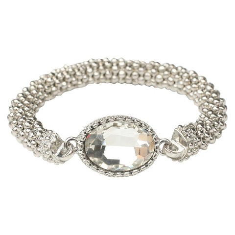 Satin Textured Rondelles with Oval Crystal Stretch Bracelet - Rhodium