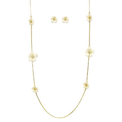"""Daisy Flowers and Crystals Enamel and Gold Electroplated Station Necklace and Earrings Set - White (36"""")"""