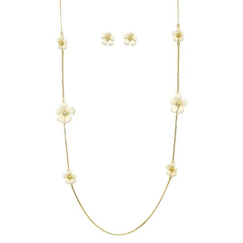 "Daisy Flowers and Crystals Enamel and Gold Electroplated Station Necklace and Earrings Set - White (36"")"