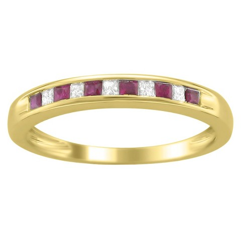 1/3 CT.T.W. Princess-Cut Channel Set Diamond and Ruby Band Ring in 14K Yellow Gold (HI, I1-I2)