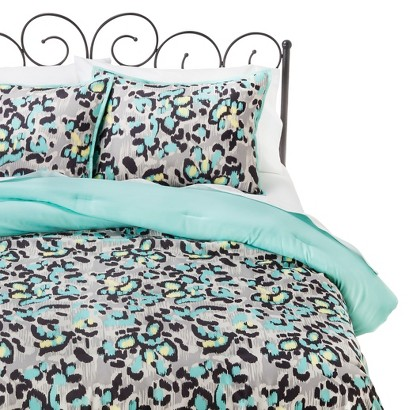 Xhilaration Twin XL Ikat Cheetah Comforter Set - Black/Turquoise