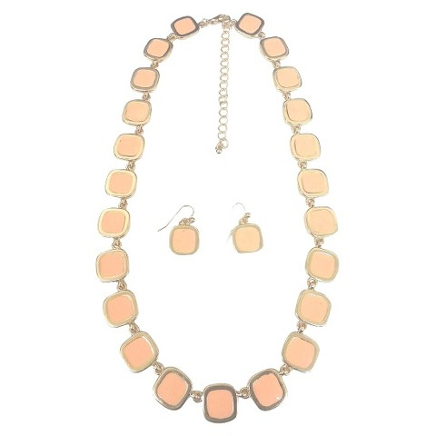 Square Enamel and Gold Link Electroplated Earrings and Necklaces Set - Pink Coral