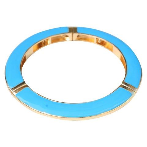 Slender Enamel and Gold Electroplated Stretch Bracelet - Turquoise