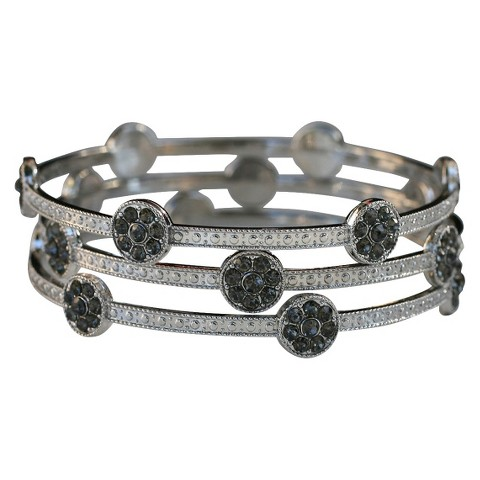 3-Piece Crystal Accented and Textured Station Bangle Bracelets - Multicolor