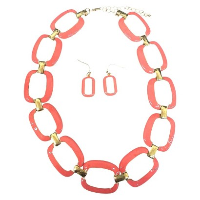 Large Square Enamel and Gold Link Electroplated Earrings and Necklaces Set - Pink Coral