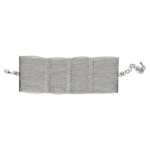 Multi-Pave Fine Crystal Bars with Multi-Link Strands Wide Bracelet and Lobster Clasp - Rhodium