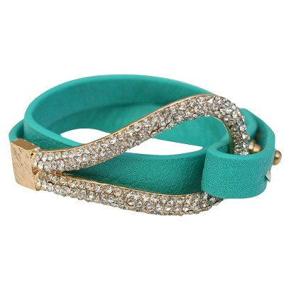 Pave Large Hook Wrapped Leather Bracelet - Turquoise