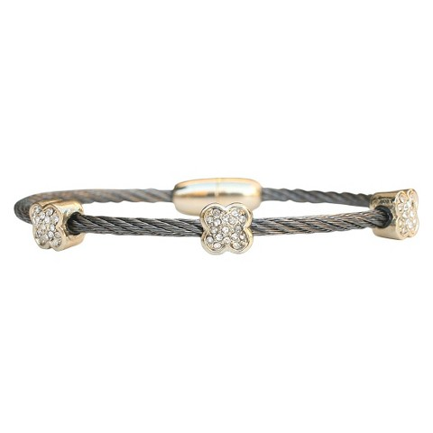 3-Piece Pave Flower Cable Bracelet with Magnetic Clasp - Black