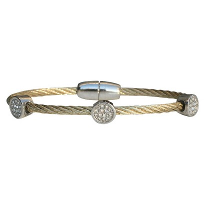 3-Piece Pave Round Cable Bracelet with Magnetic Clasp - Gold