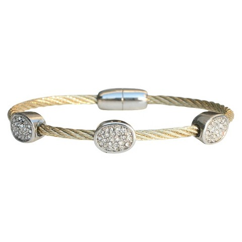 3-Piece Pave Oval Cable Bracelet with Magnetic Clasp - Gold