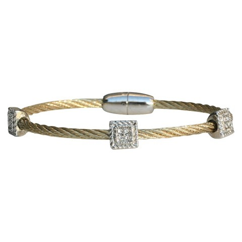 3-Piece Pave Square Cable Bracelet with Magnetic Clasp - Gold