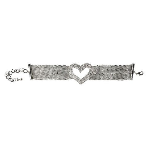 Multi-Pave Fine Crystal Heart with Multi-Link Strands Bracelet and Lobster Clasp - Rhodium