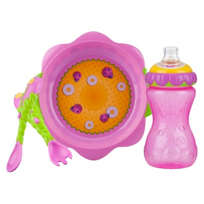 Nuby 3pc Flower Chile Baby Feeding Set - 11oz Super Spout Gripper Cup, Plate, Spoon & Fork