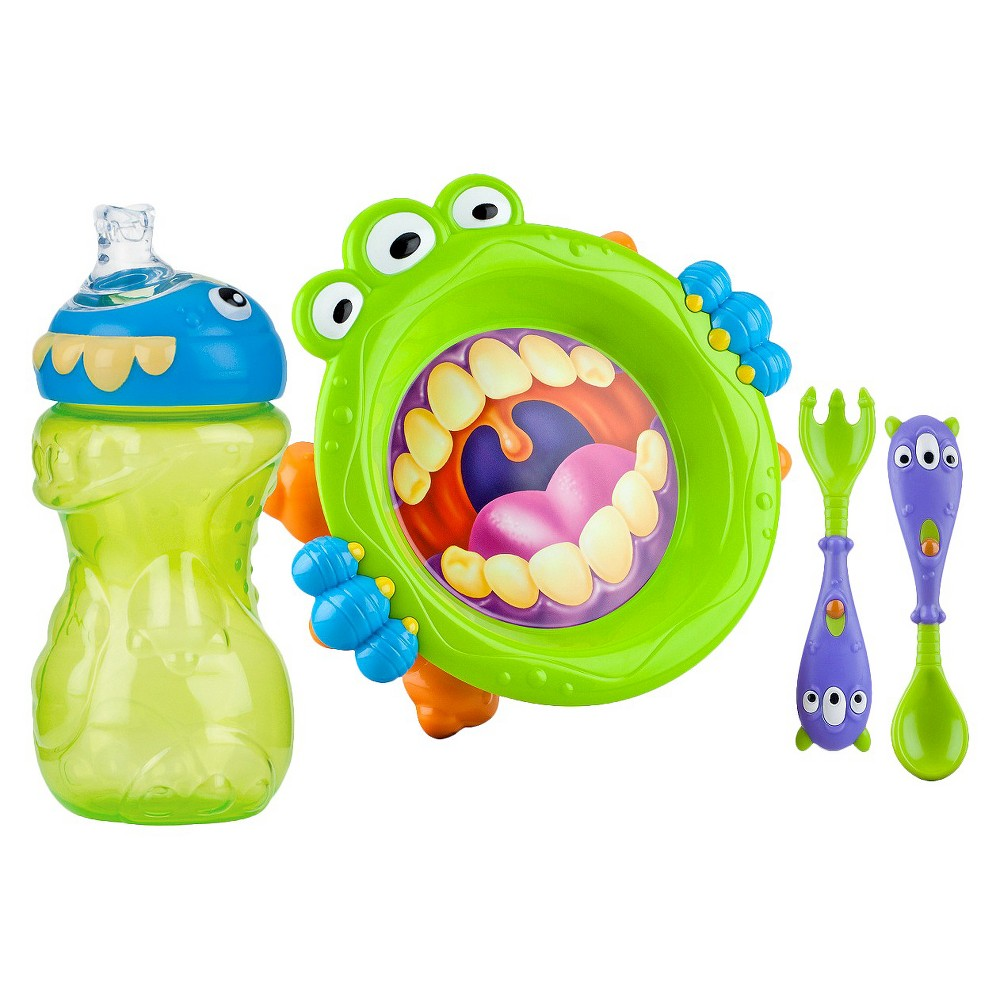 Nuby 3pc Monster Baby Feeding Set - 11oz Super Spout Gripper Cup, Plate, Spoon & Fork, Purple/Blue