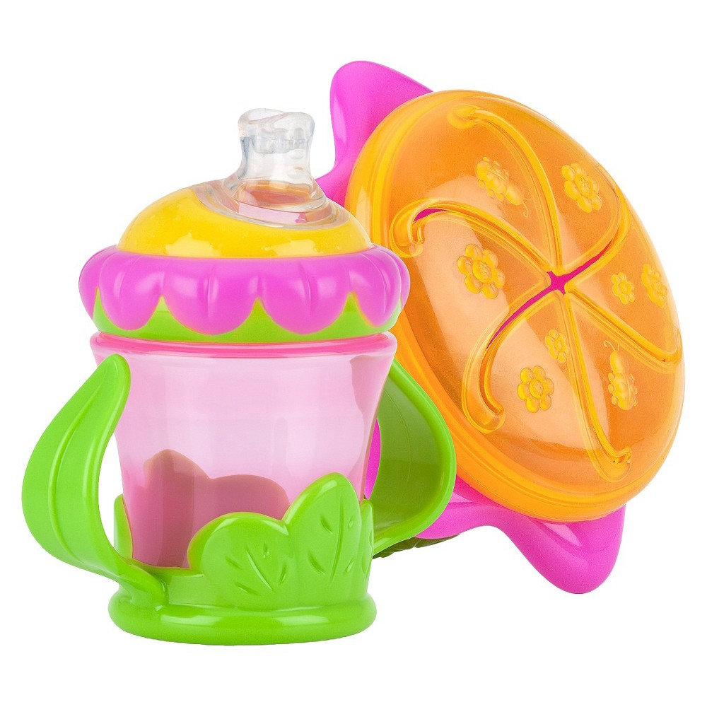 Nuby 2pc Flower Child Baby Feeding Set - Snack Keeper and 2 Handle Super Spout Trainer Cup, Pink