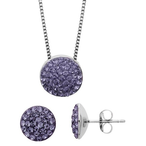 Women's Sterling Silver Pave Necklace And Earrings Set - Silver/Purple