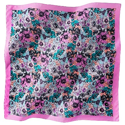 Floral Print Scarf with Pink Border - Pink