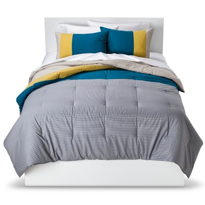 Stripe Colorblock Comforter Set - Teal (King) - Room Essentials™