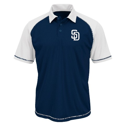 San Diego Padres Men's Synthetic Polo T-Shirt Navy/White