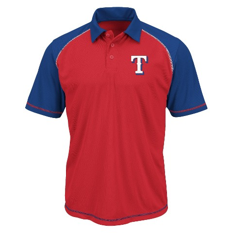 Texas Rangers Men's Synthetic Polo T-Shirt Red/Blue