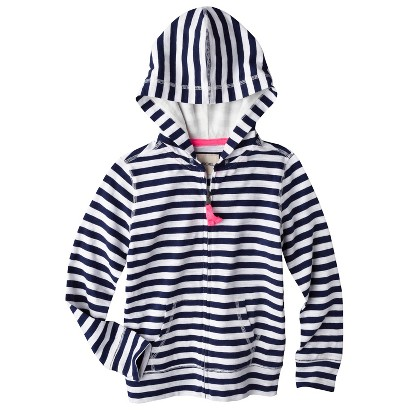 Girls' Long-Sleeve Zipper Front Hoodie - - Navy
