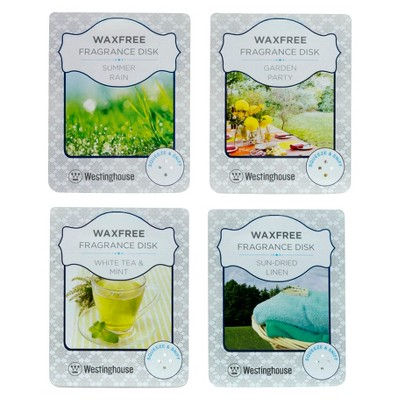 Wax Free Fragrance Disks 4 pack Assortment Set - Fresh Scents