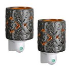 Wax Free Night Lights Set-2 Extra Fragrance Disks included - Grey Scroll