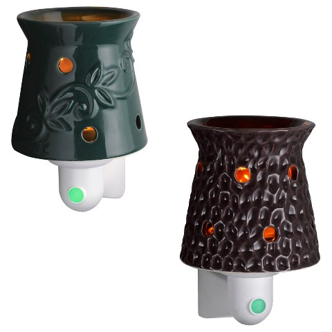 Wax Free Night Lights Set-2 Extra Fragrance Disks included - Teal and Purple